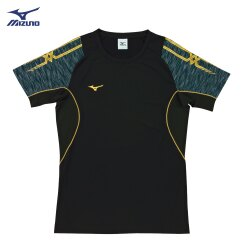 V2TA7G1909(黑X黑灰)男女通款 吸汗快乾、Slim FIT合身版型 彈性排球上衣(【美津濃MIZUNO】