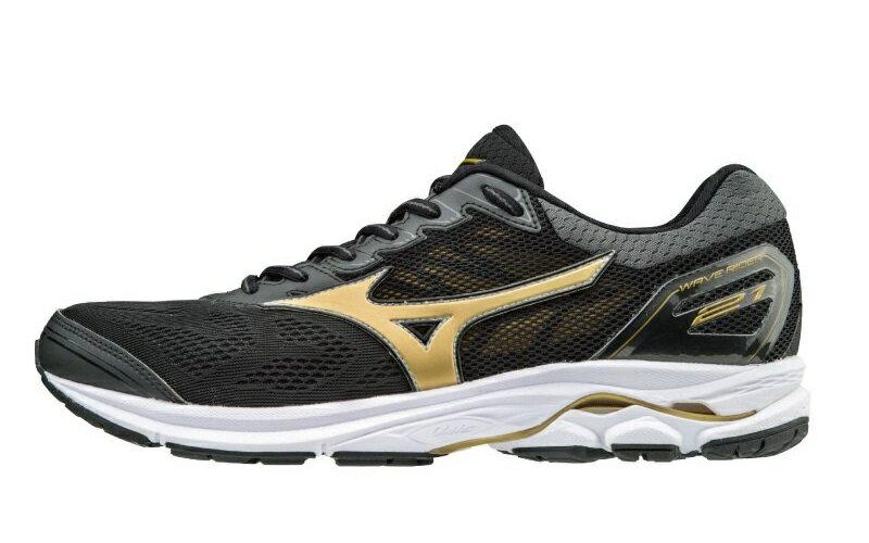 MIZUNO WAVE RIDER 21 男鞋 慢跑 中高足弓 超寬楦 網布 黑 金【運動世界】J1GC180550