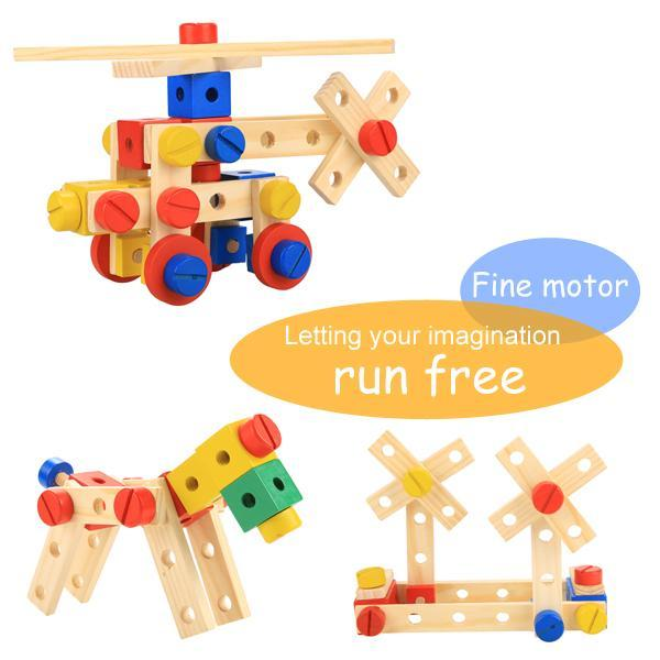 Baby 78 PCS Multi Functional Wooden Nuts and Bolts Combination Toys Building Construction Set 4