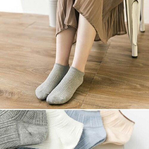 短襪素色菠蘿格雙針棉淺口船型襪短襪【JC713-3】BOBI1116