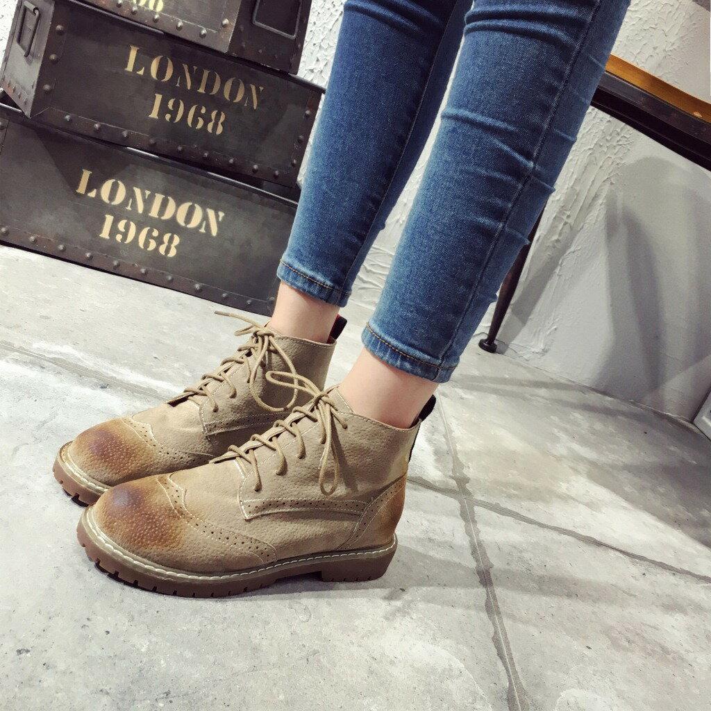 復古刷色 圓頭馬丁靴短靴短筒綁帶英倫風低跟中性街頭感馬丁靴百搭