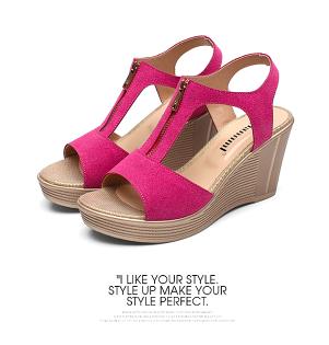 Pyf♥新款夏季防水台涼鞋拉鍊魚口楔型凉鞋絨面舒適寬楦工字厚底鞋43大尺碼女鞋