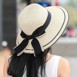 PS Mall 韓版沙灘蝴蝶結草帽 折疊遮陽帽 防曬帽【G2461】