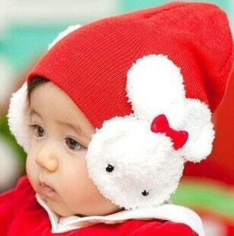 【省錢博士】韓版嬰兒小兔子護耳帽 / 寶寶卡通大兔蝴蝶結童帽