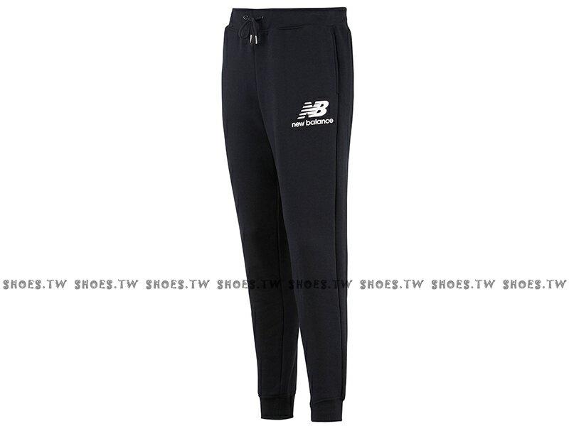 Shoestw【AMP83525BK】NEW BALANCE NB服飾 長褲 運動褲 縮口褲 針織 棉質 保暖 內刷毛 黑色 男生 0