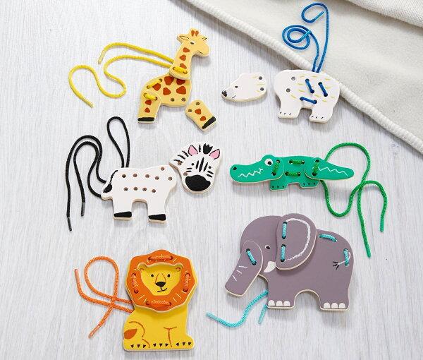 【德潮購】德國原裝DE-TCHIBO動物木頭穿線玩具組-(一組六隻小動物)