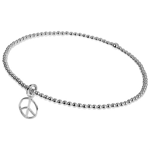 Elastic Bead Link Peace Sign Sterling Silver Bangle Bracelet ae60692f2cfaf7ab7f4e589b979c564a