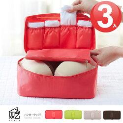 E&J【049072-01】雙藝貼身衣物收納袋(大) 3入 隨機色;旅行收納袋/行李箱/旅行組/內衣收納