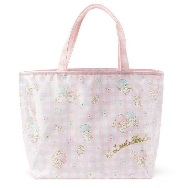 【真愛日本】16042800021膠套防水提袋-TS格紋小花 三麗鷗家族 Kikilala 雙子星 包包 手提包 肩背包