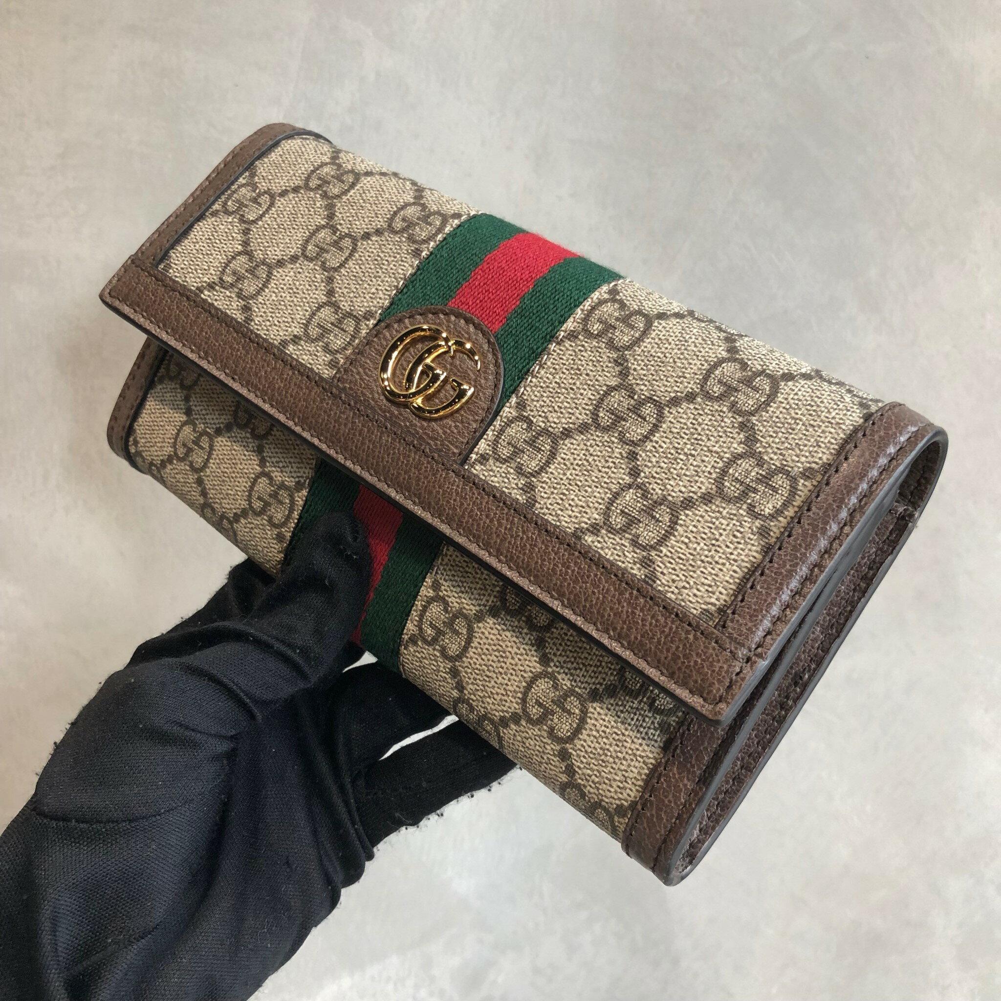 【Chiu189英歐代購】Gucci Ophidia GG Supreme復古老花掀蓋折式長夾 咖啡棕色523153