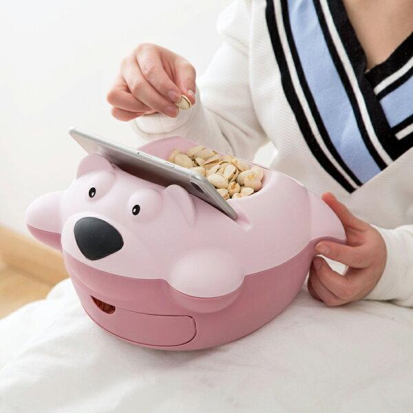 麻吉小舖:日式居家小物可愛卡通懶人瓜子盤可抽垃圾桶塑料雙層果盤創意家用乾果盤