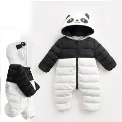 熊貓鋪棉長褲連帽包屁衣 新生兒 嬰兒 連身 包屁衣 橘魔法 Baby magic 現貨