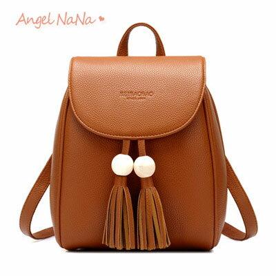 後背包-高質感簡約木珠流蘇小雙肩包AngelNaNa【BA0308】