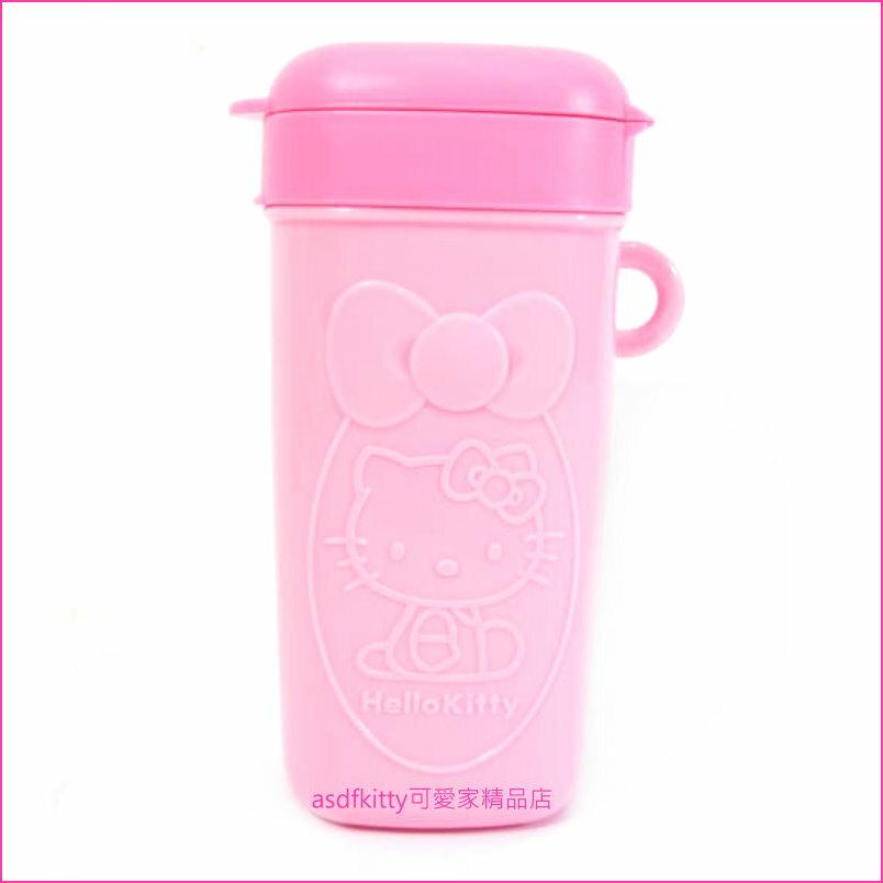 asdfkitty可愛家☆KITTY粉色零食罐/餅乾盒/糖果罐-外出好攜帶-不沾手好衛生-日本正版商品