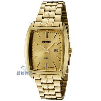 【錶飾精品】SEIKO手錶/SEIKO錶/精工表金面金色電鍍鋼帶酒桶型男錶SXD838P1.SXD838