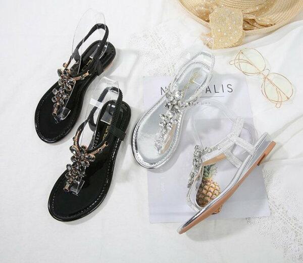 Pyf♥韓版新款波西米亞水晶花朵沙灘楔型涼鞋平底水鑽夾腳凉鞋43大尺碼女鞋