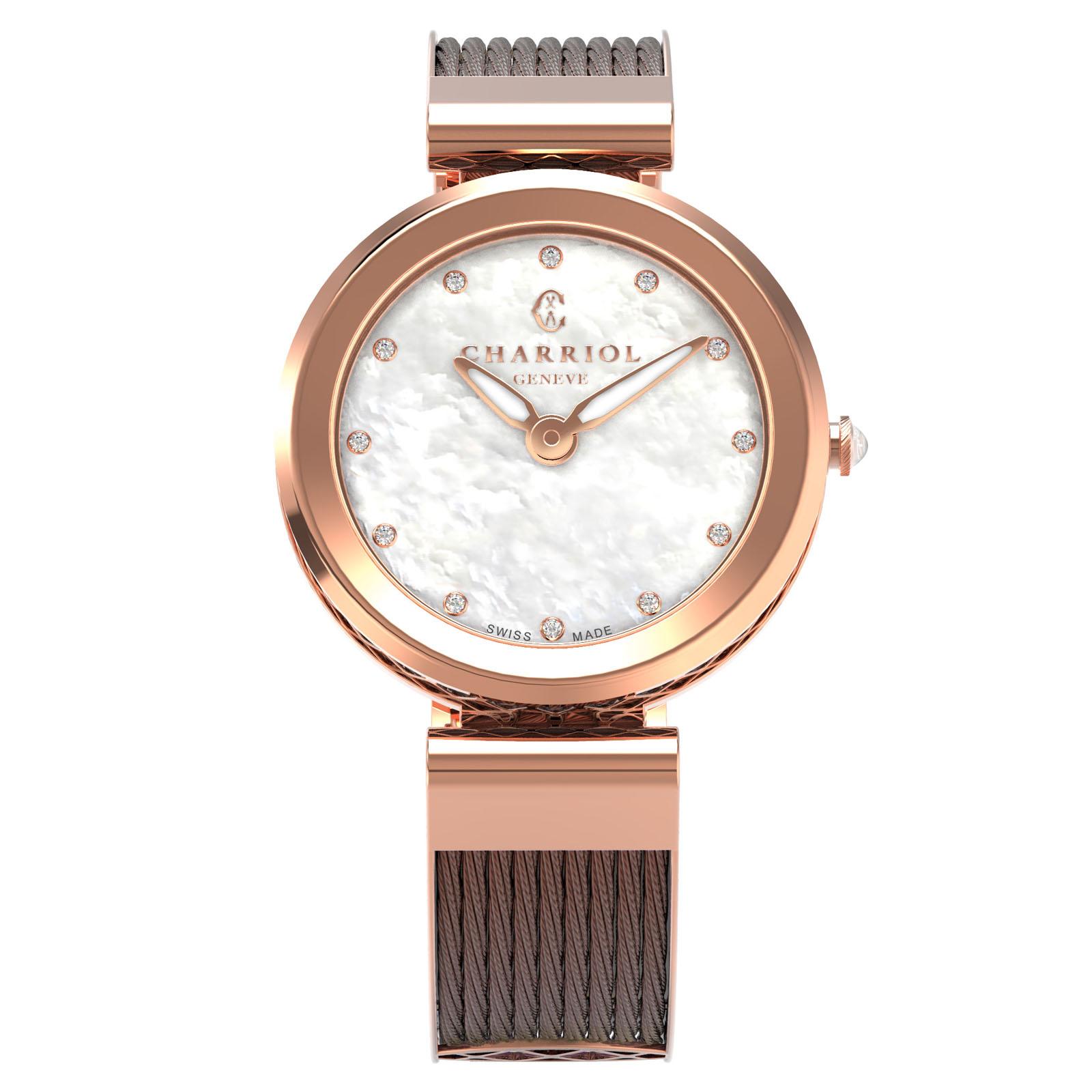 CHARRIOL夏利豪(FE32.602.005)Forever系列半鋼索經典時尚腕錶/珍珠母貝面32mm