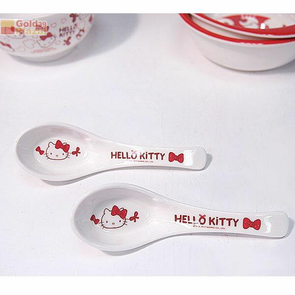 BO雜貨【SV8290】Hello Kitty蝴蝶結小湯匙2入 美耐皿湯匙 兒童湯匙 隨身環保 餐具 耐熱湯匙