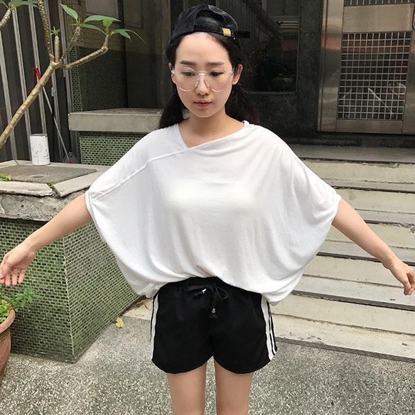 飛鼠袖拼接棉T 短袖寬版上衣 百搭白素T 正韓 ANNA S.