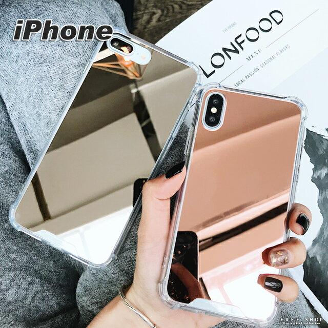 Free Shop 蘋果 IPHONE X  8  7  6 s Plus 系列 補妝神器簡約純色鏡面TPU軟邊全包鏡子手機殼【QAAW30007】
