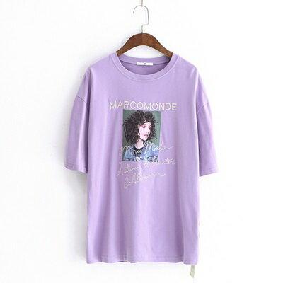 短袖T恤圓領上衣-韓版時尚人物貼布女打底衫3色73sy35【獨家進口】【米蘭精品】