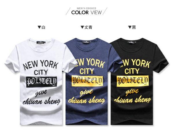 ☆BOY-2☆【OE10607】韓版休閒文字NEW YORK CITY型男短袖T恤 1