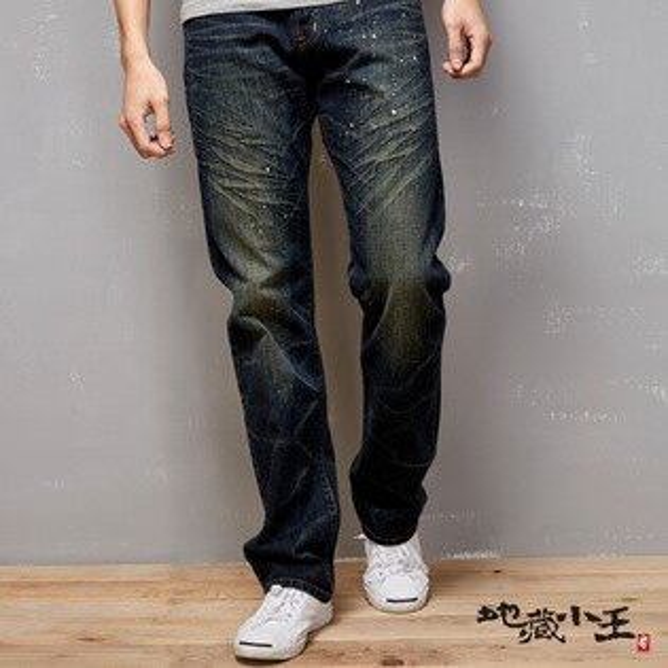 【均一價1580】地藏潑漆印花低腰直筒褲(復古藍)-BLUEWAYJIZO地藏小王