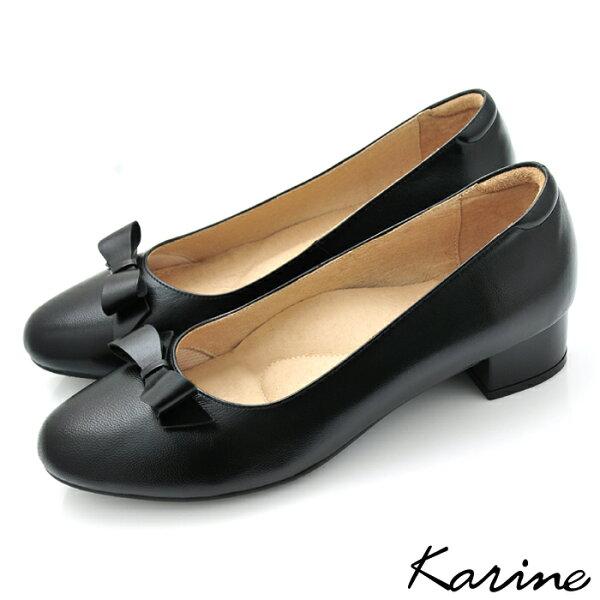 Karine:karine(MIT台灣製)全真皮蝴蝶結粗低跟包鞋-黑色