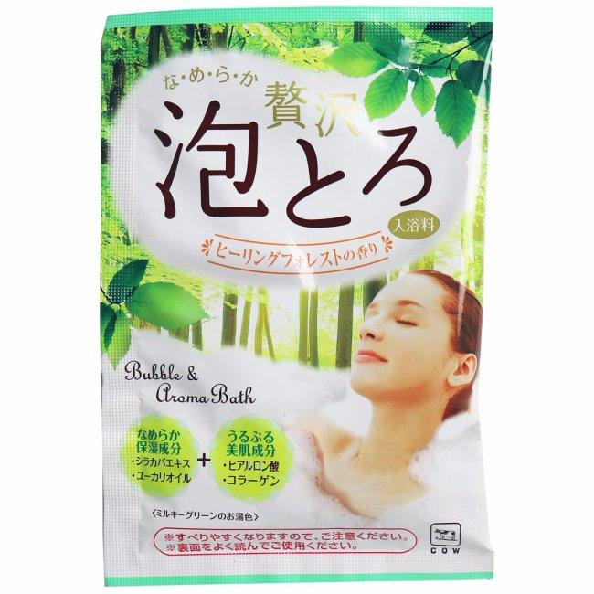 日本製 COW 牛乳石鹼 奢侈泡泡入浴劑(綠-森林香氣)30g/包 濃密泡泡*夏日微風*