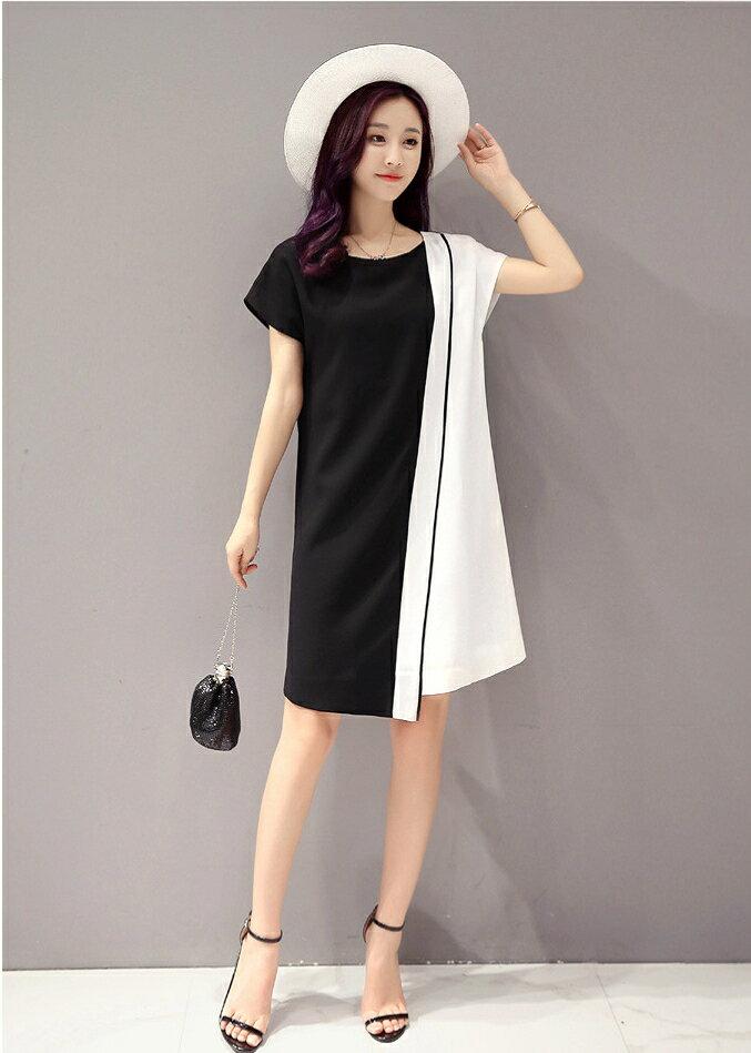 經典時尚.黑白撞色拼接短袖連身裙- shiny藍格子【V2829】 4