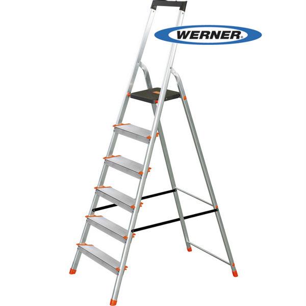 美國Werner穩耐安全鋁梯-L236R-2 鋁合金寬踏板6階梯 大平台/A字梯