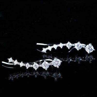 ~925純銀耳環鑲鑽耳飾~高貴優雅弧形生日情人節 女飾品73dy39~ ~~米蘭 ~