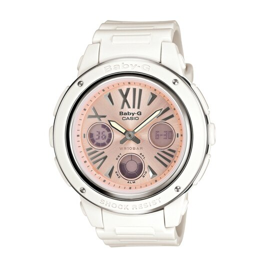 CASIO BABY-G BGA-152-7B2淡粉雙顯流行腕錶/淡粉面42.8mm