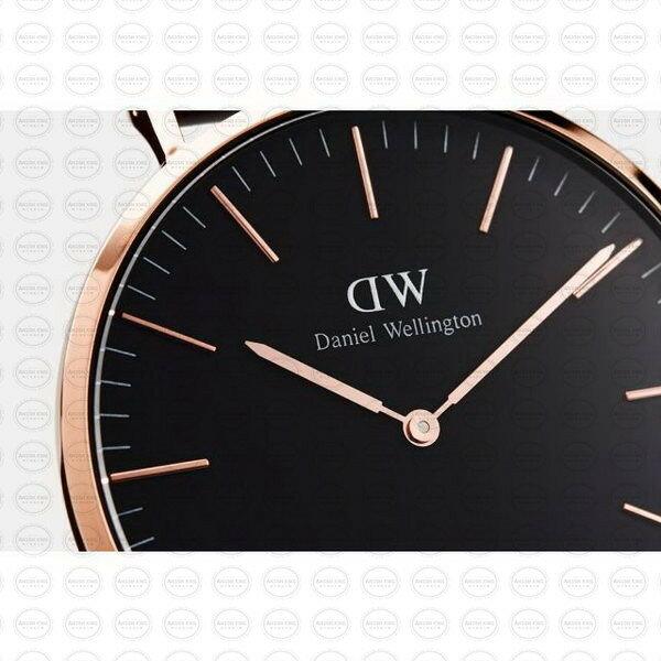 40MM 0129DW 黑錶面 玫瑰金邊 真皮黑錶帶 瑞典正品代購 Daniel Wellington 男錶手錶腕錶 3