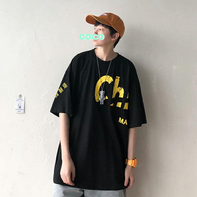 夏季新款短袖t恤男寬松港風潮牌半袖上衣百搭帥氣大碼潮流體恤衫