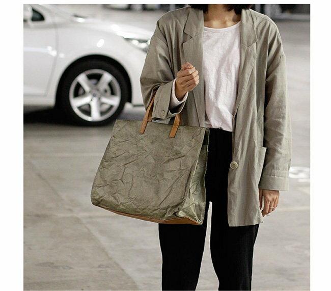 帆布袋 復古 拉鍊 褶皺 牛皮紙 手提包 環保購物袋-手提 / 單肩 / 斜背包【AL181】 BOBI  09 / 20 5
