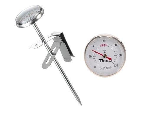 Tiamo不鏽鋼HK0418探針式溫度計錶面3.3cm 奶泡器 拉花杯 手沖壺 製作手工皂