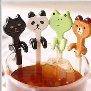 =優生活=生活創意 貓咪 貓熊 青蛙 小豬 熊熊攪拌棒 攪拌器 咖啡勺 五款