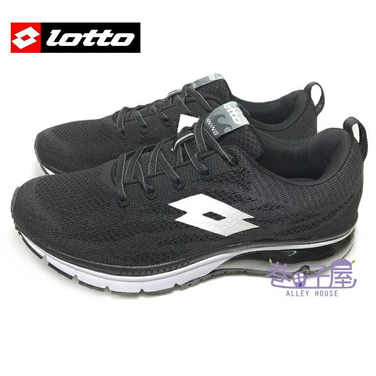 【巷子屋】義大利第一品牌-LOTTO 極黑限定 男款WAVEKNIT編織氣墊慢跑鞋 [3270] 黑 超值價$890
