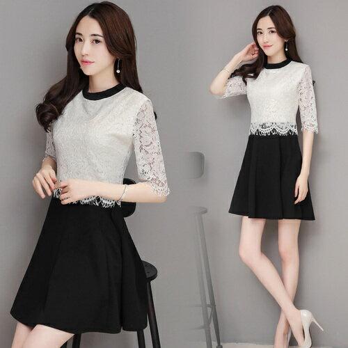 [全店滿700現折$100]  SASA 歐美時尚風蕾絲假兩件拼接顯瘦五分長袖洋裝