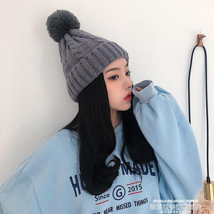 假髮帽 假髮毛線帽子女秋冬季一體時尚中長卷髮全頭套式可拆卸百搭羊毛卷 萊俐亞 8號時光
