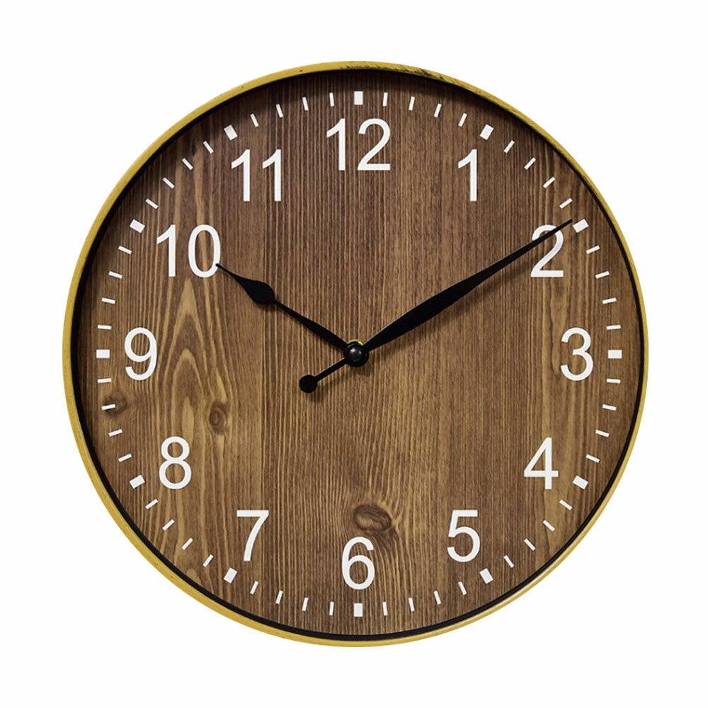 【媽媽咪呀】生活美學鄉村復古款靜音壁掛鐘/時鐘-質樸木紋