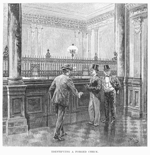 Check Forger 1890Na Check Forger Is Caught At A New York Bank Wood Engraving American 1890 Rolled Canvas Art - (18 x 24)