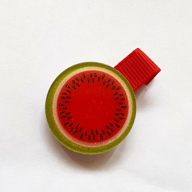 全包布髮夾.嬰兒髮夾  AB5001-13 水果--紅色   鴨嘴夾/瀏海夾/日韓/髮飾/頭飾/王子與公主