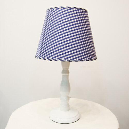DeLife- 藍格子布燈罩古典燈桿桌燈 /  檯燈 E27 1