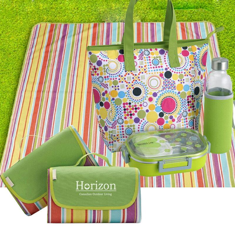 【野餐露營超值組】樂活超值野餐墊(顏色隨機)+便當盒+保溫瓶+野餐袋 0