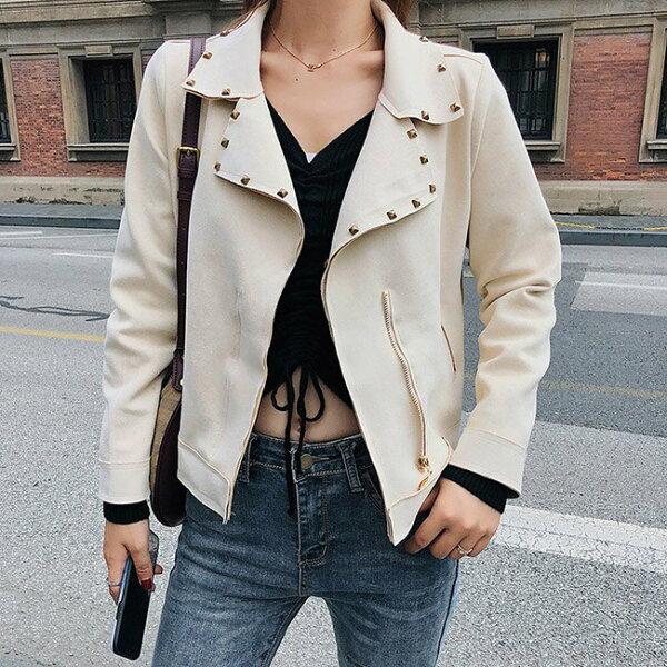 皮衣素色鉚釘裝飾翻領拉鏈短款顯瘦長袖外套【NDF5222】BOBI0927