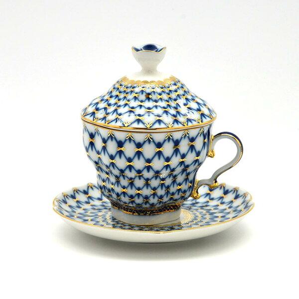 俄羅斯ImperialPorcelain經典網紋系列(藍)-22K金手工250ML有蓋杯盤組