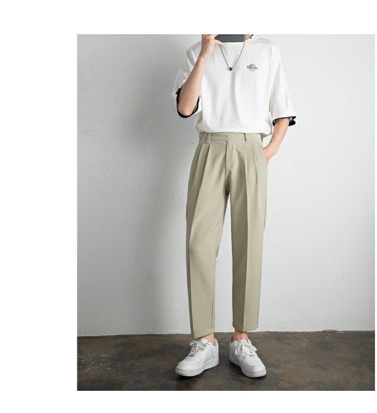FINDSENSE X  男生 西褲情侶垂感直筒西裝褲英倫寬鬆九分休閑褲
