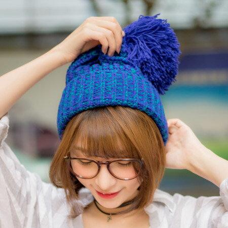 韓版 超大毛球混色針織毛帽 捲邊加厚毛線帽 保暖帽 球球帽子【N201142】